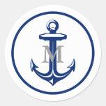 White Navy Blue Anchor | Monogrammed Round Sticker