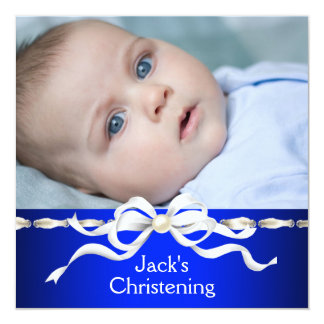 White Navy Blue Baby Boy Photo Christening Card