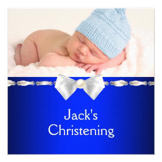 White Navy Blue Baby Boy Photo Christening Personalized Invitations