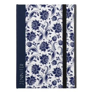 "White & Navy-Blue Floral Damasks Monogram iPad Pro 9.7"" Case"