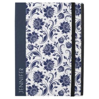 "White & Navy-Blue Floral Damasks Pattern iPad Pro 12.9"" Case"