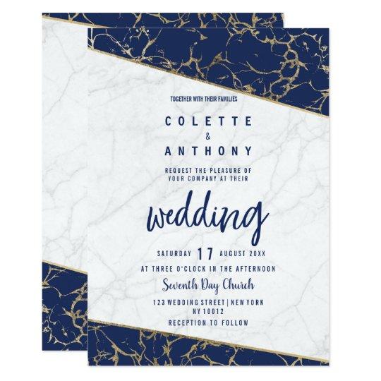 White Navy Blue Gold Marble Wedding Invitation