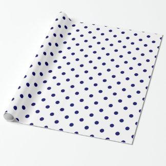 White Navy Blue Polka Dot Spot Pattern Wrapping Paper