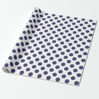 White & Navy Blue Polka Dots Wrapping Paper