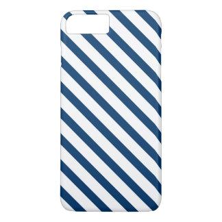 White Navy Blue Stripes Pattern iPhone 7 Plus Case
