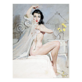 White Negligee Pin Up Postcard