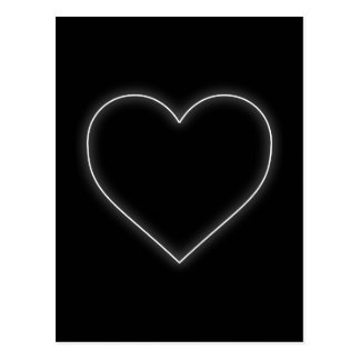 White Neon Heart - Love Valentines Postcard