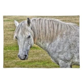 White New Forest Pony Wild Horse Place Mats