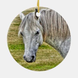 White New Forest Pony Wild Horse Round Ceramic Decoration
