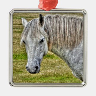 White New Forest Pony Wild Horse Silver-Colored Square Decoration
