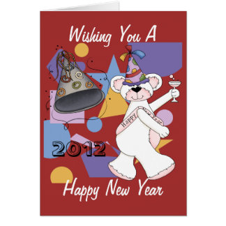 White New Years Bear Card