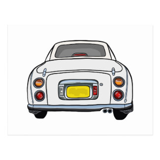 White Nissan Figaro Car postcard