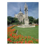 White Notre Dame Cathedral, Paris flowers Post Card