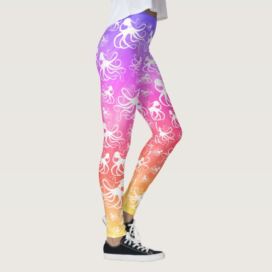 White Octopus On Pastel - Leggings