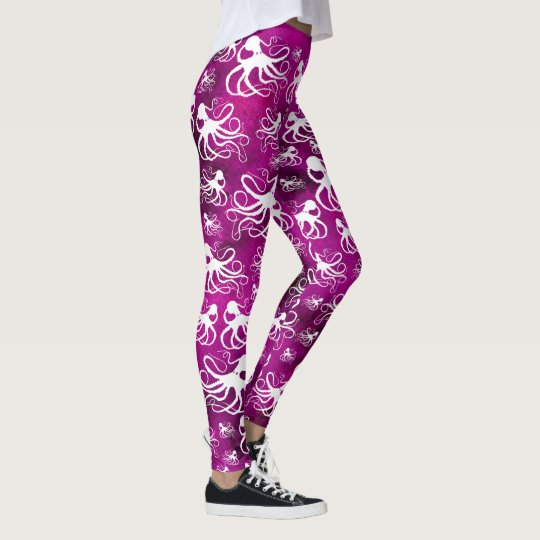 White Octopus On Pinkish Purple - Leggings