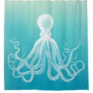 White Octopus Unique Aqua Blue Ombre Gradient Shower Curtain