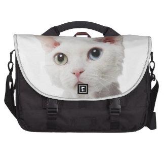 White odd-eyed cat 2 laptop bag