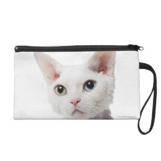 White odd-eyed cat 2 wristlet purse