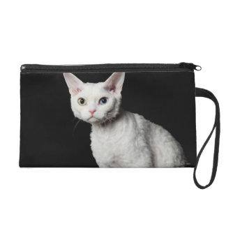 White odd-eyed cat 3 wristlet purse
