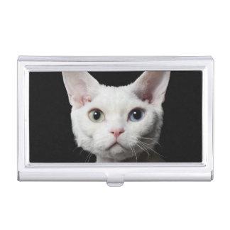 White odd-eyed cat business card holder