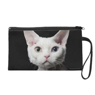 White odd-eyed cat wristlet purse