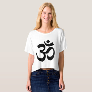 White Om Symbol Crop-Top Shirt