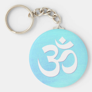 White OM Symbol Turquoise Blue Shimmery Look Key Ring