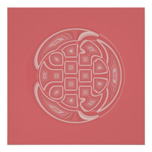 White on Apricot Circle Geometric Abstract Posters