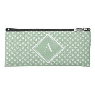White-on-Aqua Pawprint Pattern Pencil Case