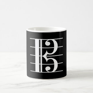 White-on-Black Alto Clef Coffee Mug