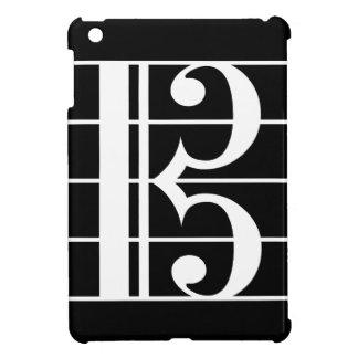 White-on-Black Alto Clef iPad Mini Covers