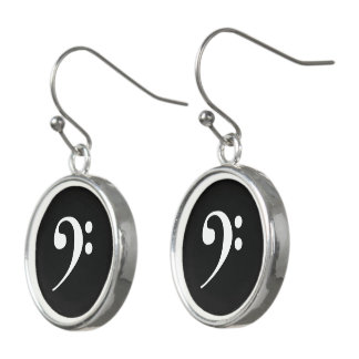 White on Black Bass Clef Music Earrings