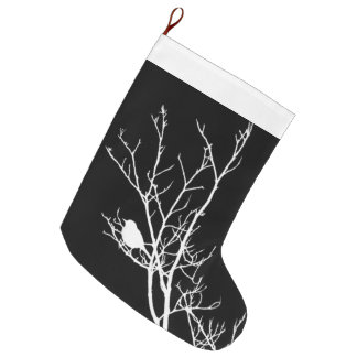 White On Black Bird Silhouette - Large Christmas Stocking