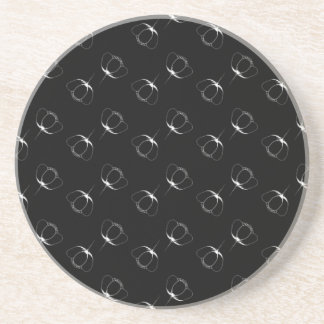 white on black buttercup coaster