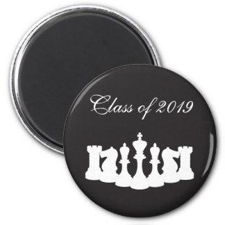 White on Black Chess Graduation 6 Cm Round Magnet