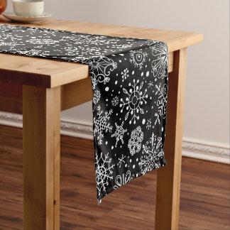 White On Black Christmas Snowflakes Medium Table Runner