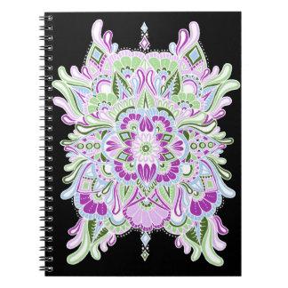 White on Black Colored Mandala Spiral Note Books