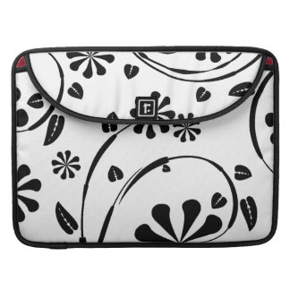 White on Black Daisy Flower Pattern MacBook Pro Sleeves