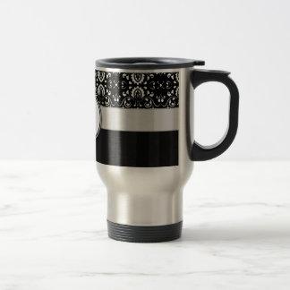 White on Black Damask and Stripes with Monogram Stainless Steel Travel Mug