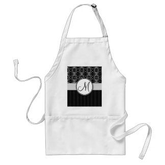 White on Black Damask and Stripes with Monogram Standard Apron