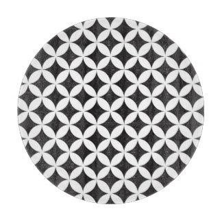 White on Black Diamond Geometric Pattern Cutting Board