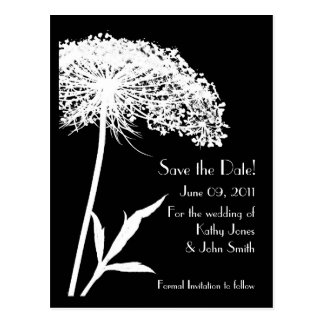 White on Black Floral Save the Date Postcard