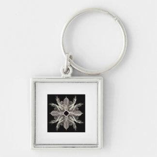 White on Black Fractal Art Design Key Ring