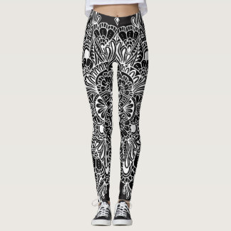 White on Black Mandala Leggings