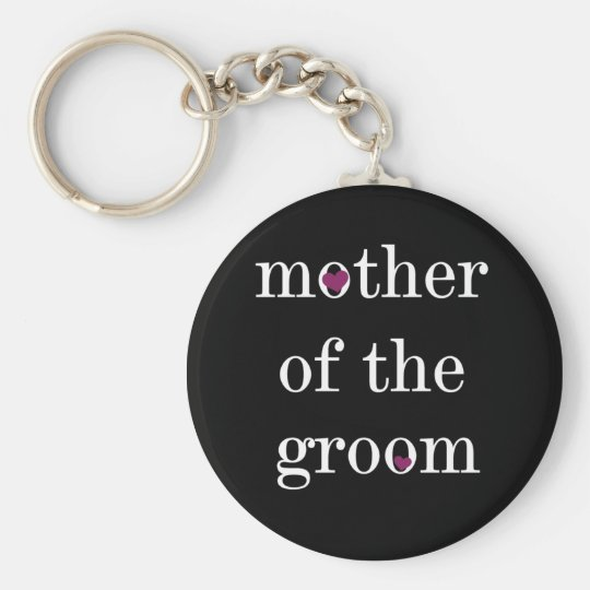 White on Black Mother of the Groom Keychain