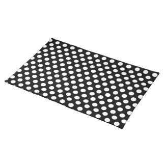 White on Black Polka Dot Pattern Placemat