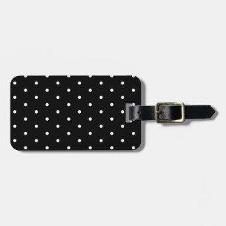 White on Black Polka Dots Luggage Tag