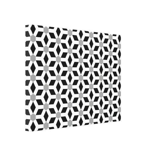 White on Black Tiled Hex Canvas Canvas Prints