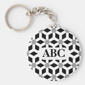 White on Black Tiled Hex Keychain