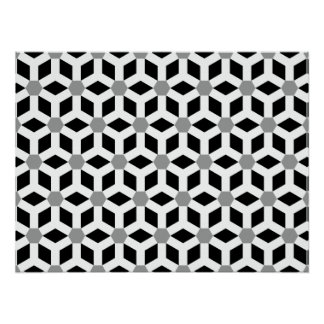 White on Black Tiled Hex Poster